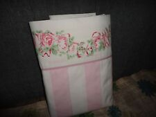 LAURA ASHLEY PINK & WHITE COUNTRY ROSES STRIPES TWIN XL /TWIN FLAT SHEET 64 X 94