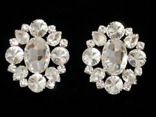 Button Style Rhinestone Earrings Clear Crystal Drag Queen Dance SSER-6-C/S