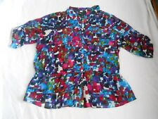 Lane Bryant Shirt Size 26 28 Geometric Print Button Front Sheer 100% Polyester