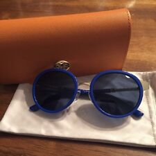 New With Case Tory Burch TY 6042Q 310880 Cobalt Blue Round Gold Sunglasse