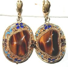 ANTIQUE DECO SILVER GOLD PL TIGER'S EYE FILIGREE ENAMEL CHINESE DANGLE EARRINGS