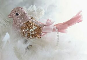 Shabby Chic Victorian Pink Rose Glitter Bird Christmas Tree Ornament