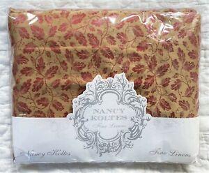 Nancy Koltes Fine Linens Continental Shams Marblehead Foglia Gold Red Leaf 26x26