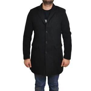 Cappotto uomo invernale art 100123 nero made in italy elegante bottoni e tasche