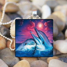 Tibet Silver Tile Chain Pendant Necklace Happy Dolphin & Fish Art Cabochon Glass
