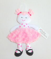 New Baby Starters Pink Plush Girl Doll Dolly Minky Swirls White Polka Dots P77