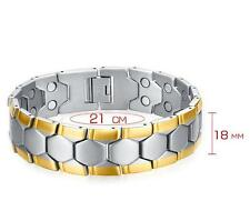 Gold silver Stainless steel magnet germanium Bracelet Mens Bangle 18mm 8.26''