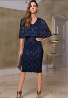 Navy Double Layered Cape Sleeve Lace Midi Dress with Sequin Detail size 8 -10