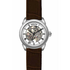 Invicta 17196 Women's Specialty White & Silver Skeleton Dial Brown Strap Watch
