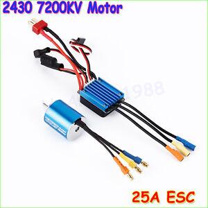 2430 7200KV 4P Sensorless Brushless Motor with 25A Brushless ESC for 1/16 1/18