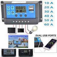 US 10/20/30/40/50/60A Amp Solar Panel Battery Regulator Charge Controller 12/24V