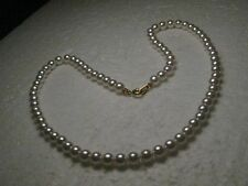 "Vintage Faux Pearl 6mm Necklace, 18"", Gold Tone Clasp, Proms/Weddings"