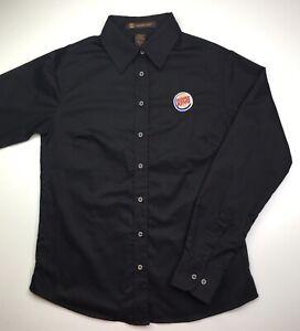 Burger King Manager Employee Uniform Shirt Womens Small Black Long Sleeve