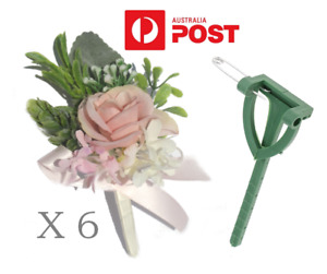 6 x DIY Corsage Buttonhole Brooch Pins Flower Holder Wedding Party Bridal Prom