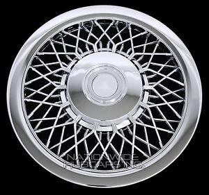 """4 New 15"""" CHROME SPOKE Hub Caps Full Wire Wheel Covers Rim Cap Lug Cover Hubs C"""