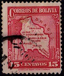 BOLIVIA 1935  Map of Bolivia Scott #224  15 c. rose carmine STAMP