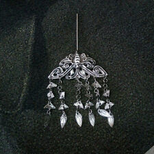 Hair accessory tassels tribal pure handmade Miao silver butterfly hairpin 1piece