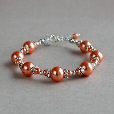 Coral orange pearls silver beaded bracelet wedding bridesmaid bridal accessory