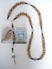 Catholic ROSARY from Medjugorje OLIVE WOOD St.Benedict NECKLACE ( Rosario )