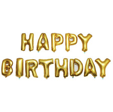 OUTGEEK Happy Birthday Banner Foil Letters Balloons Gold