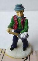 Grandeur Noel Man Shoveling Snow Victorian Christmas Village  2001 Miniature