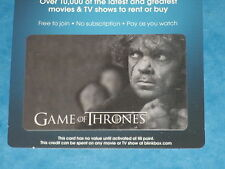 Game Of Thrones: TYRION LANNISTER Collectible Plastic Top-Up Card UK Exclusive