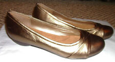Hush Puppies Womens Sz 10M Leather Ballerina Flat Shoes slip ons Bronze Achelle!