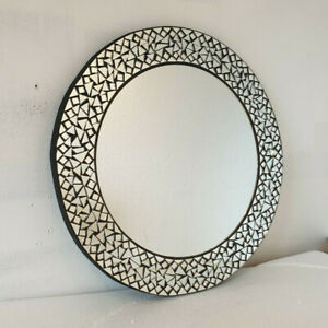 Handmade Round Mosaic Wall Mirror Black Frame Moroccan Style Crackled Glass 51cm
