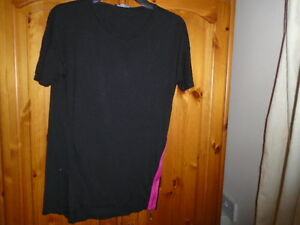 1 Black oversized dipped hem top, pink statement zip at side, GEORGE, size 8