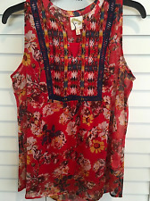 Fig And Flower Woman's Small Red Multi Sleeveless Boho Top With Camisole NWT