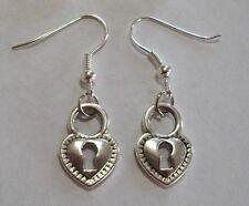 Silver Heart Lock Earrings Cute Pair of Antique