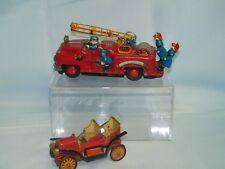 2 VTG 1950's Tin Litho Friction Motor  TN Fire Truck, TKK Model T made in Japan