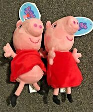 """2 lot jazwares Nickelodeon PEPPA PIG Plush with tag 7"""" NEW 18 months+"""