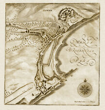 Old Map of Dover, Kent in the 1600's - town plan, repro, vintage, historical