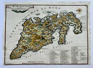 MARTINIQUE CARIBBEAN 1704 NICOLAS DE FER UNUSUAL ANTIQUE MAP 18TH CENTURY