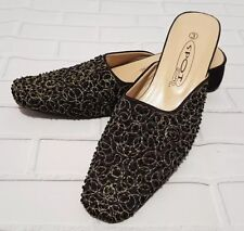 BEADED Mules Size 3 Black Embellished Indian Slippers IMMACULATE Women's Flats
