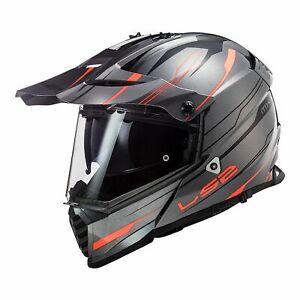 LS2 MX436 PIONEER EVO ADVENTURE MOTORCYCLE HELMET Knight Tit/Fluo Orange MEDIUM