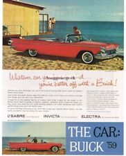 1959 BUICK Le Sabre Red Convertible on the Beach Vtg Print Ad