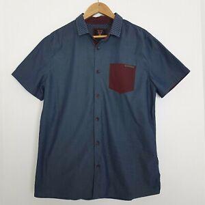 Mooks Size L Men's Cotton Blue & Maroon Short Sleeve Button Up Shirt