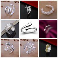 925 Sterling Silver PLT Adjustable Finger Thumb Open Band Ring Women Girl Gift