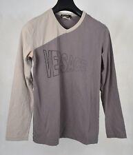 3f2cd1ae5f Versace Camisa para hombres cuello en V Manga Larga Gris Beige Superior L