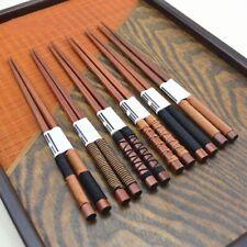 6 Pair/Set Handmade Wooden Chopsticks Classic Japanese Natural Chestnut Wood-New