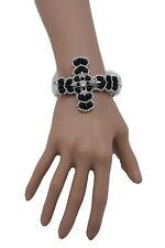 Women Silver Metal Chain Fashion Bracelet Black Cross Beads Bless Western Bling