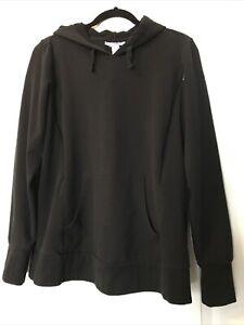 MOTHERHOOD MATERNITY Nursing Black Pullover HOODIE Sweatshirt Womens L Large EUC