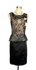 REVIEW Dress - Black Lace/Nude Vintage Style Sleeveless Peplum Ruffle Satin - 8