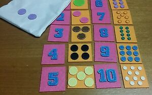 EDUCATIONAL FELT MATCHING OR MEMORY GAME WITH DRAWSTRING BAG