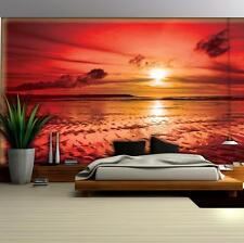 Vlies Fototapete XXL Strand Meer Sonnenuntergang Wohnzimmer Tapete Wandtapete 73
