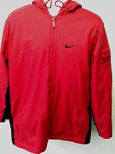 Nike Womens Red Parka Zip Up Snowboarding Jacket Hood Pockets Lined Insulated XL