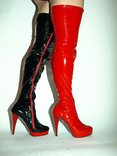 """BLACK-RED patent elastick leather boots SIZE 5-16 HEELS-5,5""""- PRODUCER POLAND"""