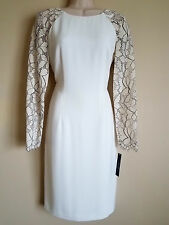 Tahari elegant dress Sz. 4 -Off white -with lace sleeves